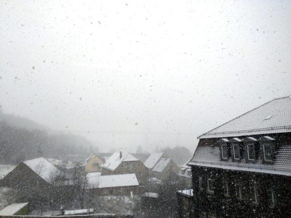 Marktbreit im dichten Schneetreiben