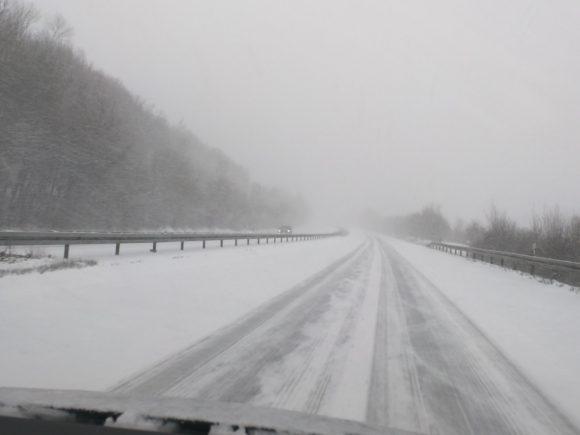 Rückahrt im Schnee