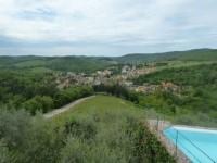 Blick vom Weingut Le Capannelle auf den Ort Gaiole